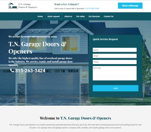 Website developed by Logiciels BouletAP - Main snapshot of T.N. Garage Doors and Openers
