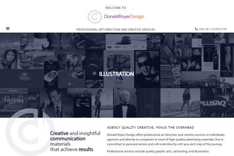 Website developed by Logiciels BouletAP - Main snapshot of Donald Royer Design